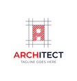 letter architecture style logo design design plan vector image