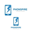 logo combination of a phone and lightning vector image vector image
