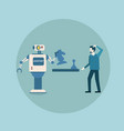 modern robot playing chess with man concept vector image vector image