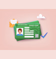 permanent residency card green card concept 3d vector image