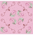 pink hand drawn tulips seamless pattern Can be vector image vector image