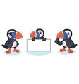 Puffin Mascot happy vector image vector image