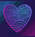 purple and pink wave heart card st valentine vector image vector image