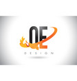 qe q e letter logo with fire flames design and vector image vector image