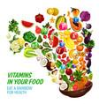 rainbow color diet vitamin in healthy organic food vector image