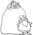 santa claus cartoon for coloring vector image vector image