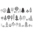 set of hand drawn doodle trees vector image vector image