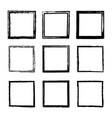 set of square frames drawn by ink brushes vector image vector image