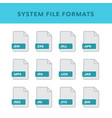 set of system file formats and labels in flat vector image