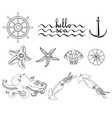 set of various seaweeds and corals icons vector image
