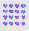 set red pieces puzzle of romantic hearts vector image