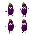 set with cartoon eggplants vector image vector image