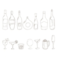Sketch of wine bottles vector image vector image