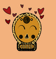 skull in love ironic icon vector image vector image