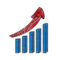 statistics bars with arrow vector image vector image