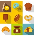 Sweet pastries icons set flat style vector image vector image