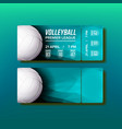 ticket tear-off coupon on volleyball match vector image vector image