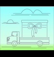 truck car gift clouds road car vector image