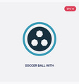 two color soccer ball with pentagons icon from vector image
