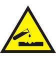 warning acid sign triangle yellow chemistry vector image