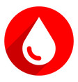 white blood drop sign circle icon vector image vector image
