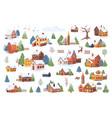 winter christmas landscape elements cartoon set vector image vector image