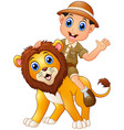 young boy in safari suit and wild lion cartoon vector image