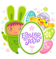 easter card with rabbit child vector image