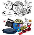 cinema love popcorn and ticket vector image
