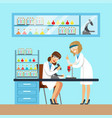 chemists females testing chemical elements vector image