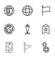 9 map icons vector image vector image
