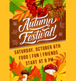 autumn harvest festival foliage fall poster vector image vector image