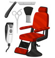 barber chair and other equipments vector image vector image