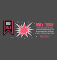 big sale only today banner horizontal concept vector image