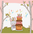 birthday card with cute rabbit woodland vector image vector image