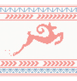 Christmas knitted pattern with jumping goat or dee vector image