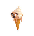 cute funny pug dog character inside ice cream cone vector image vector image