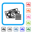 dollar cash framed icon vector image vector image