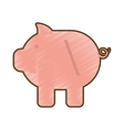 drawing pink piggy money cash vector image