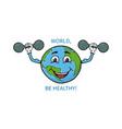 funny cartoon earth globe makes physical vector image