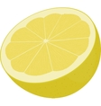 half of yellow lemon isolated on white vector image vector image