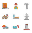 Industry technology icons set cartoon style