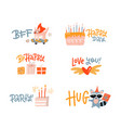 inspiring social media stickers set greeting vector image vector image