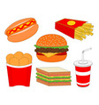 isolated delicious fast food menu icon set vector image