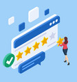 isometric customer review or feedback concept vector image vector image