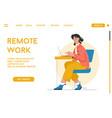 landing page remote work concept vector image