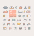 line furniture icons set collection vector image vector image
