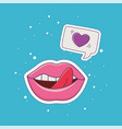 lips tongue out love patch fashion badge sticker vector image