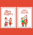 merry christmas winter characters and kid boy vector image vector image