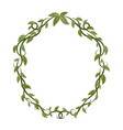 oval frame with green tropical leaves and lianas vector image